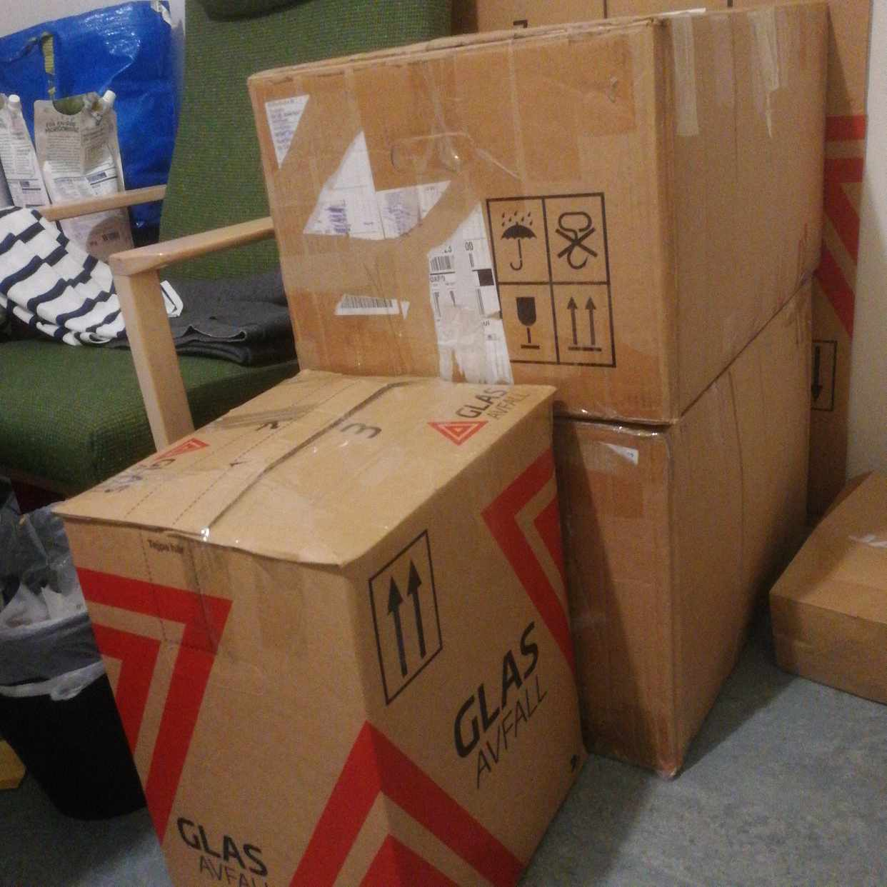 image of Sofa bed, cupbard, boxes -