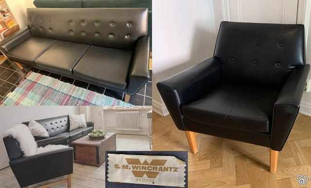 image of Retro soffa och fåtölj fr -