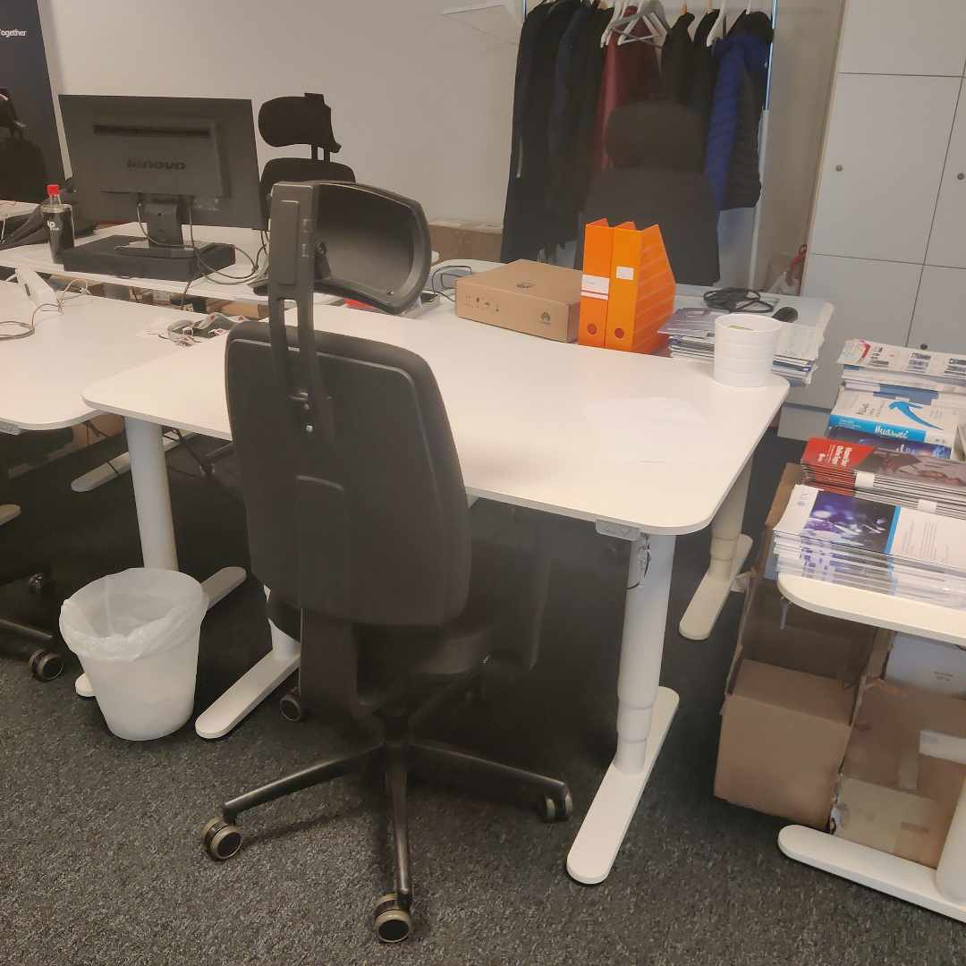 image of a desk,a chair and screen -