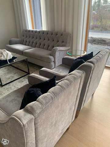 image of 3-Sits soffa med två fåtö -