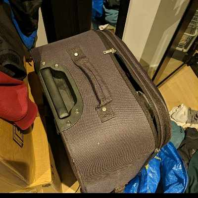 image of 5 boxes, 2 suitcases -